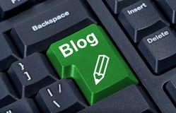 Blog verde del botón del ordenador Fotos de archivo