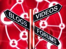 Blog-Video-Foren Wegweiser das Zeigen der on-line--Illustration 3d stock abbildung