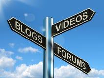Blog-Video-Forum-Wegweiser, der on-line-Sozialmedien zeigt Stockfotografie