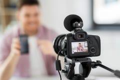 Blog visuel de enregistrement de caméra de smartphone photographie stock