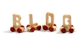 Blog w drewnianym literowaniu na kołach Obraz Stock