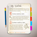 Blog web site template. Open notepad with colorful bookmarks Stock Image