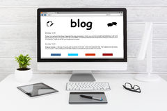 Blog Weblog-Medien-Digital-Wörterbuch-on-line-Konzepte Lizenzfreie Stockbilder