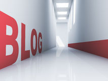 Blog Website. Rendering of a red blog text in a white corridor Stock Photography