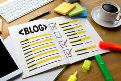 BLOG Website-on-line-Internet-Webseiten-Social Media-Verbindung N Stockfotos