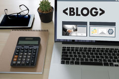 BLOG Website-on-line-Internet-Webseiten-Social Media-Verbindung N Stockbilder