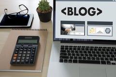 BLOG Website-on-line-Internet-Webseiten-Social Media-Verbindung N Stockbilder