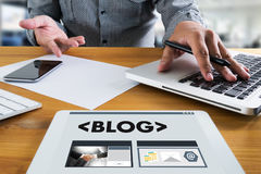BLOG Website-on-line-Internet-Webseiten-Social Media-Verbindung N Stockfoto