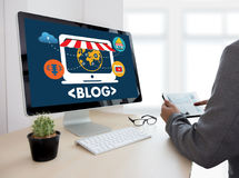 BLOG Website-on-line-Internet-Webseiten-Social Media-Verbindung N Stockfoto