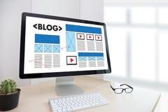 BLOG Website-on-line-Internet-Webseiten-Social Media-Verbindung N Lizenzfreie Stockbilder