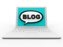 Blog on a White Laptop. A white laptop displays the word BLOG on its screen in a speech bubble Stock Images