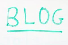 Blog on whiteboard Stock Image