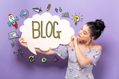 Blog with woman holding a speech bubble royalty free stock photos