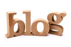 Blog Wood Word. On white background royalty free stock photos