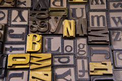 Blog in wooden typeset. The word Blog surrounded by random typeset Royalty Free Stock Photography