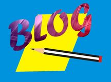 Blog word. With a yellow paper and a pencil with isolated background Stock Photos