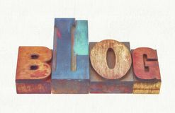 Blog word abstract in mixed wood type. Blog word abstract in mixed letterpress wood type printing blocks, a photo with a digital painting effect applied royalty free stock photography