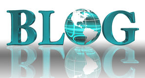 Blog word and blue earth globe Royalty Free Stock Image