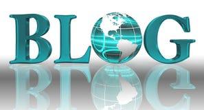 Blog word and blue earth globe. Blog logo word and blue earth globe with clipping path Royalty Free Stock Image