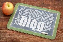 Blog word cloud on blackboard Stock Photography