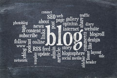 Blog  word cloud on blackboard Royalty Free Stock Photos