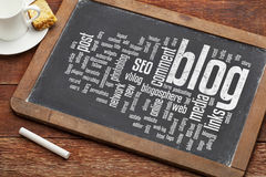 Blog word cloud on blackboard Stock Photos