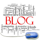 Blog Word Cloud and Mouse. Blog word cloud concept with a computer mouse and great terms such as internet, help, follow, www, email, computer and more Royalty Free Stock Image