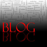 Blog Word Cloud Red and Black. A word cloud concept for the word Blog written in red with a reflection against black and great concept words in the background Royalty Free Stock Photo