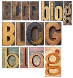 Blog word collage. Blog word in isolated antique wood letterpress printing blocks, stained by color inks, a collage of words in a variety of fonts Stock Photography