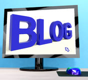 Blog Word On Computer For Blogger Website Royalty Free Stock Image