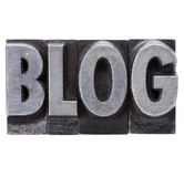 Blog word in grunge metal type Royalty Free Stock Images