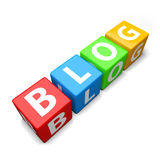 Blog word made of colorful toy blocks Stock Images