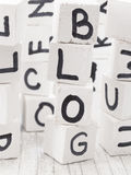 Blog word made of wooden letters. Black letters on the white cubes Stock Images