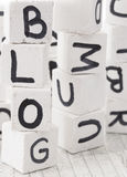 Blog word made of wooden letters. With letters on the white wooden cubes Royalty Free Stock Images