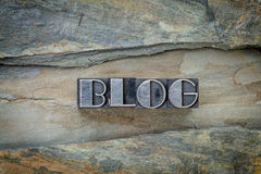 Blog word in metal type Royalty Free Stock Image
