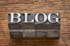 Blog word in mixed vintage metal type Royalty Free Stock Photo