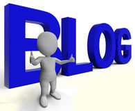 Blog Word Shows Blogger Website And Blogging Royalty Free Stock Photography