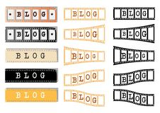 Blog. The word blog us on filmstrip of different shapes and colours Stock Photos