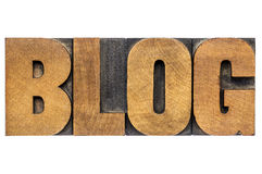 Blog word in wood type Royalty Free Stock Image