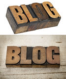 Blog word in wood type. Blog word in vintage letterpress wood type, two versions - isolated word and text on a grunge painted barn wood background royalty free stock photo