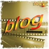 `blog` word written in yellow and red on empty film strip. `blog` word written in yellow and red on film strip Royalty Free Stock Photo