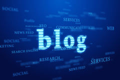 Blog. Words cloud on blue background. Tags web cloud with blog emphasis concept on deep blue background Stock Images