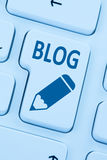 Blog writing online on the internet blue computer web Stock Images