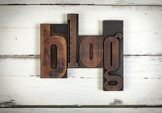Blog, written with old wooden letters stock image