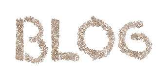 Blog written with small cubes. Blog written in letters formed with wooden cubes with letters isolated on white background Stock Photos