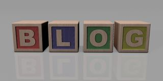 BLOG written with wooden blocks Stock Photos