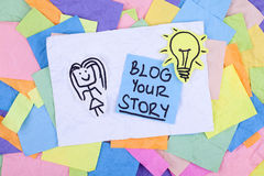Blog Your Story. Message with lightbulb Stock Image