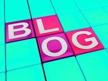 Blog zeigt Illustration der Social Media-Nachrichten-3d vektor abbildung
