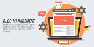 Blogbeheer - blog marketing, het concept van het inhoudsbeheer Vlakke ontwerp vectorbanner royalty-vrije illustratie