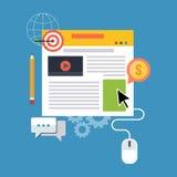 Blogbeheer, blogging concept Vlak Ontwerp Royalty-vrije Stock Afbeeldingen